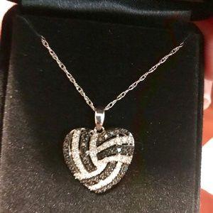 Black and White Diamond  silver pendant/ chain